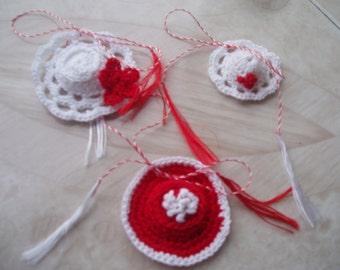 Martisor -martisoare/crochet miniatures/handmade/ hats miniatures/clothing embellishement