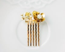 Chinese Hair Accessory, Chinese Gold and Jade Hair Comb, Traditional Chinese Hair Jewelry, Plum Blossom, Gemstone and Gold Plated Comb