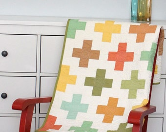 "Modern quilt pattern - ""On the Plus Side"" - easy to make, Jelly Roll friendly, Baby to King quilt size - Instant download PDF"