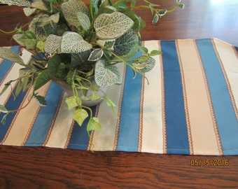 Nautical striped table runner in blue, tan and white, 54x15""