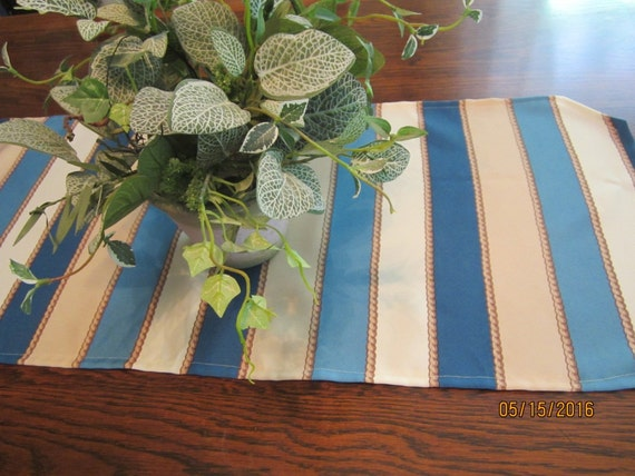 """Nautical striped table runner in blue, tan and white, 54x15"""""""