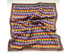 "Handmade Tunisian Entrelac Heirloom Rainbow Baby Blanket (31"" by 40"")"