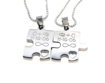 Personalized Couples Necklaces - Puzzle Piece Necklace Set - Engraved Puzzle Couples Gift Set - Necklace Gift Set - Stainless Steel