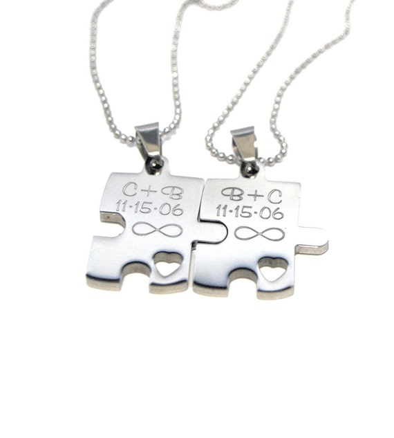 personalized couples necklaces puzzle necklace set
