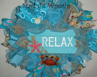 Summer Relax Burlap and Mesh Wreath, Beachy Decor, Beach Wreath, Summer Decor, Summer Wreath, Crab with Sunglasses, Colorful Summer Wreath