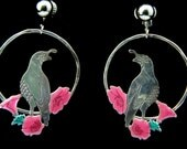 Reserved for Jennifer - Vintage Sterling Silver & Enamel Quail Dangle Earrings Clip On Circle Hoop