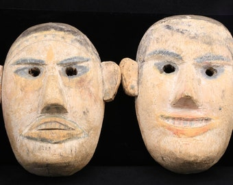 Vintage Pair Folk Art Veracruz Hand-Carved Wood Carnival Masks Painted Mexican