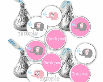 Elephant Pink Gray Baby Girl Thank You  shower favors gift  candy stickers (108)