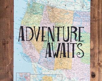 "Western United States Map Print, Adventure Awaits, Great Travel Gift, 8"" x 10"" Letterpress Print"