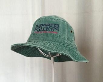 Green Bucket Hat Vintage Lake of the Ozarks Backwater Jack's Cotton Summer