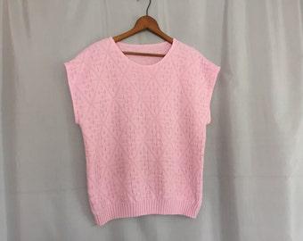 Pink Sweater Top Sleeveless Knit Shirt Vintage Pastel Silver Metallic Women's Small or Medium