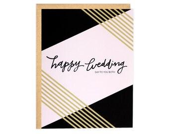 Wedding Card, Newlywed Card, Happy Wedding Day Card, Congrats Wedding Card, Congratulations Wedding Card, Black & Gold Wedding Card