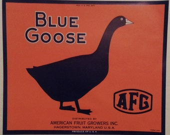 Blue Goose Vintage Fruit Crate Label American Fruit Growers Hagerstown, Maryland