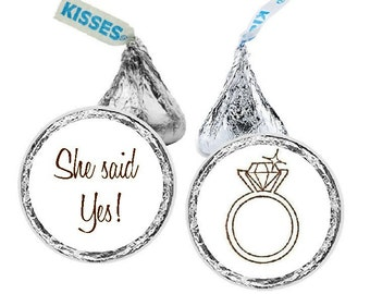 She Said Yes, Candy Stickers, Hershey Kiss Sticker, Sparkling Diamond, Sticker, Engagement, Bridal Shower, Favor, 108 Stickers