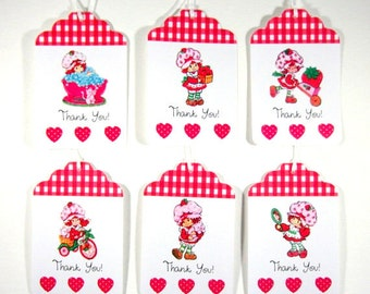 Vintage, Strawberry Shortcake, Tags, Personalized Tags, Thank You Tags, Birthday, Baby Shower, Favor Bag Tags, Gift Tags, Set of 12