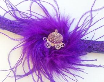 Sparkle Princess Headband - Purple Feather Princess Headband - Toddler Princess Headband - Purple Cinderella Headband for Girls -