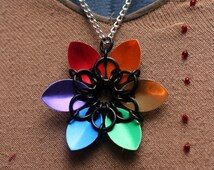 Rainbow Scalemaille Flower Necklace