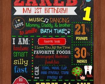 Barn First Birthday Chalkboard - Farm First Birthday Chalkboard - Cow - Pig - Tree - Barn - Birthday Chalkboard - DIGITAL - First Birthday