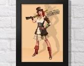"Steampunk Pin-Up Girl 5 x 7 Inch Print 5"" x 7"" Picture Pop Art Style Interior Decor Retro Homeware Design Pic Photo Vintage Girls Retro"