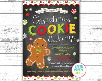 Christmas Cookie Exchange Invitation - Invite - Printable Digital File - Cookie Exchange Invite - Cookie Party Invite
