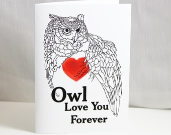 Greeting Card Owl Love You Forever Can Personalize Great for Valentines Day