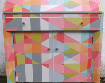 SOLD***SOLD***SOLDWriting Bureau restyled in abstract multi coloured geometric
