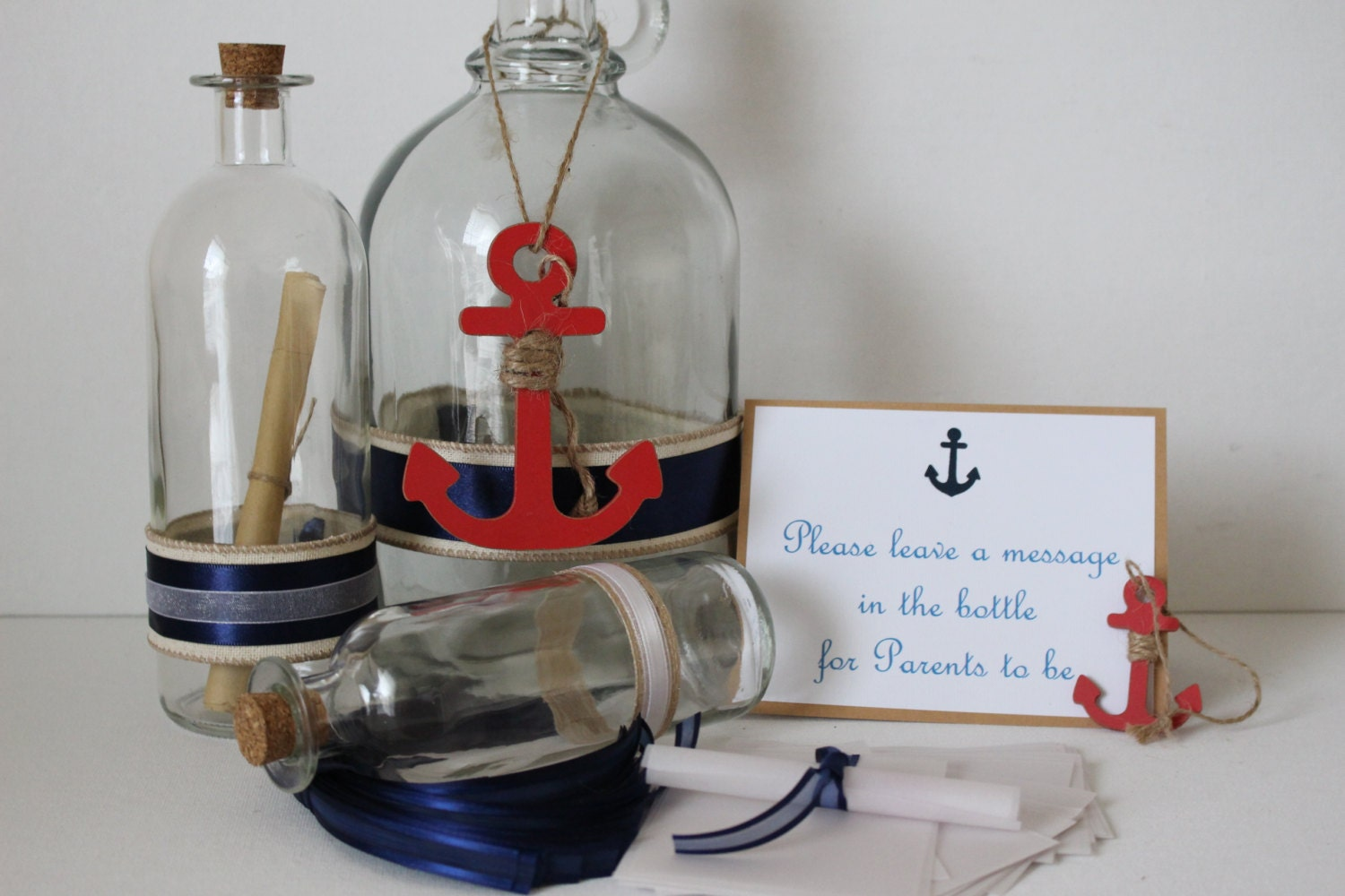 Message in a bottle baby shower baby shower decorations for Baby bottle decoration