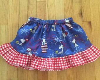Snoopy fire works, 4th of July skirt with ruffles