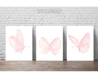 Baby Pink Butterfly Paintings, Set of 3 Butterflies Art Print Gift Idea. Girls Nursery Light Pink Room Decor Shabby Chic Watercolor Painting