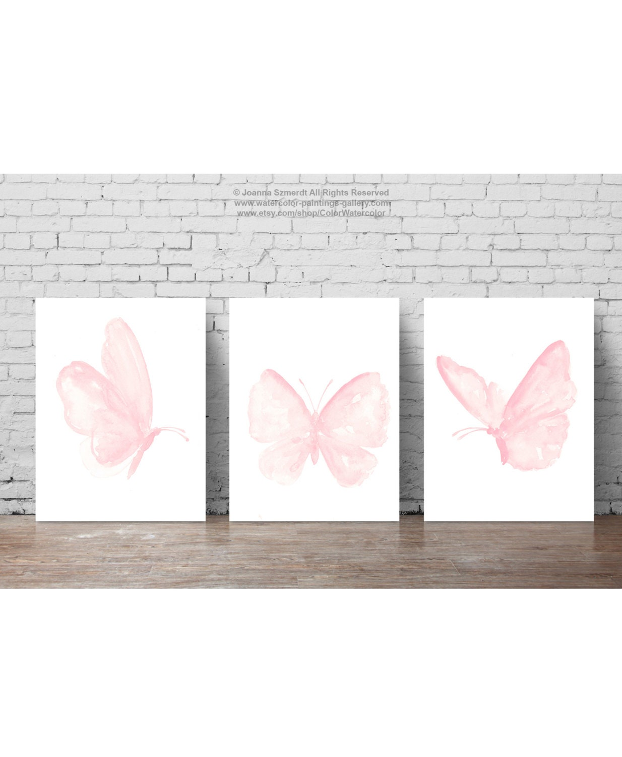 Baby Pink Butterfly Paintings Set Of 3 Butterflies Art Print Gift Idea Girls Nursery Light Pink Room Decor Shabby Chic Watercolor Painting