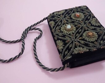 Vintage gold thread embroidered beaded black velvet small purse cigarette case 1960s