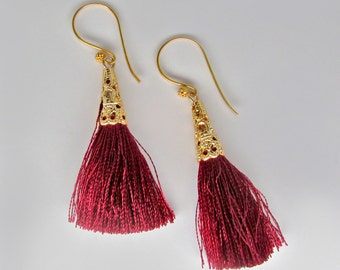 gold red tassle earrings, 24k gold vermeil red tassel earrings, gold red silk tassle earrings, gold and red earrings, deep red silk earrings