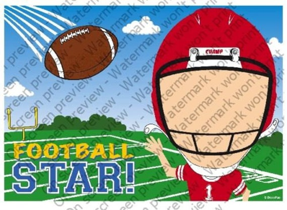 Football Player Birthday - Edible Cake and Cupcake Photo Frame For Birthday's and Parties! - D4086