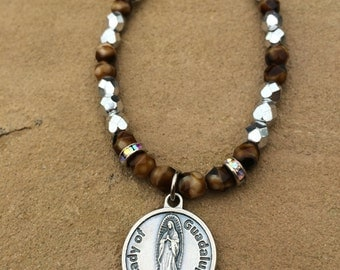 Brown and silver Czech Glass beads with silver Our Lady of Guadalupe medal
