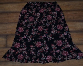 90s Black and Floral Skirt