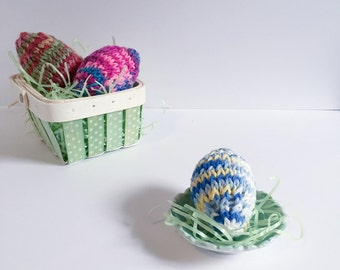 Individual Knit Easter Egg Decorations - Rainbow 3D Easter Egg Decoration