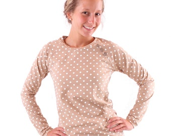 "Sweater ""Emma"" with buttons / / beige with cream-coloured dots"