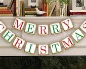 Christmas Decoration - Merry Christmas Banner - Christmas Photo Prop - Christmas Sign - Christmas Bunting - Christmas Garland