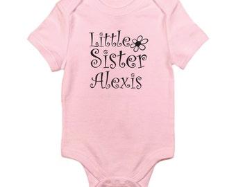 Little  sister custom with name girls sister short sleeved bodysuit size choice new great gift idea