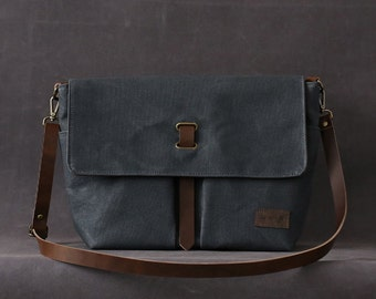 Waxed canvas bag CATHERINE grey