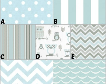 Coustom Crib Bedding, Nursery and Home Decor / Design Your Own / Crib Bumper, Skirt, Sheet, Curtains, Blanket, Pillows / Mist and Grey