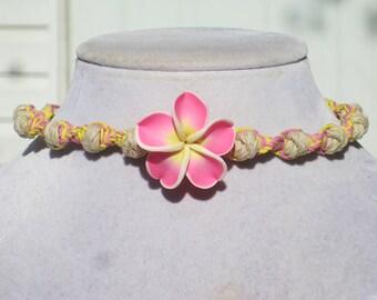 Plumeria Flower Polymer Clay Hemp Choker