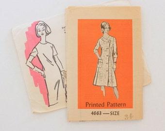 """Anne Adams 4663 - sz 12 bust 34"""" - 1960s/70s Pattern"""