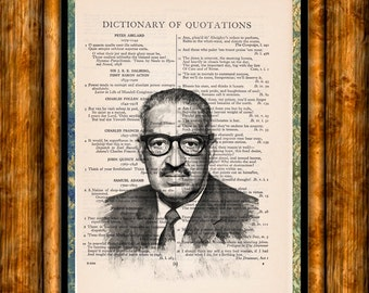 Thurgood Marshall First African - American Supreme Court Judge - Vintage Dictionary Book Page Art Print, Upcycled Book Art, Judge Print