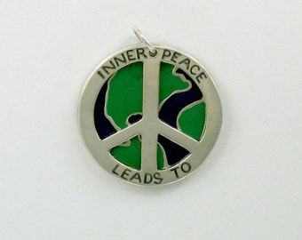 925 Sterling Silver Inner Peace Leads To World Peace Pendant - 40
