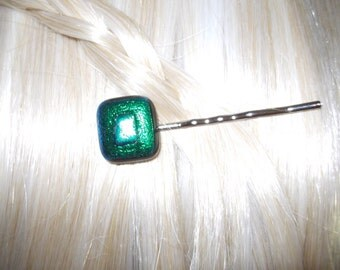 Hair Pin, Bobby Pin, Deep Green Dichroic Glass Hair Ornament, Green Glass Bobby Pin, silver backing,  Green Fused Dichroic Glass Bobby PIn