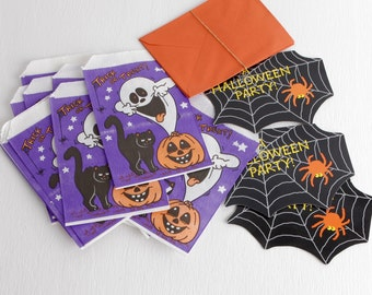 Vintage Halloween Treat Bags, Paper Goodie Bags with Ghost, Cat, and Pumpkin, Vintage Halloween Ephemera with Three Spider Web Invitations