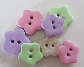 Simple flower buttons - Set of 5