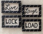 Shotgun Shell Live Laugh Lock Load 4 Piece Set Wall Decor