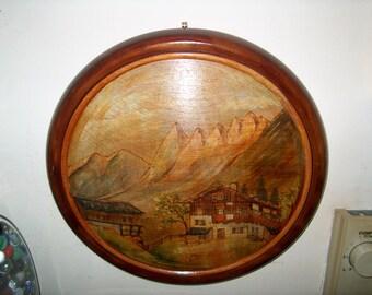 Vintage German Painting on Wood, WAS 50.00 - 25% = 37.50